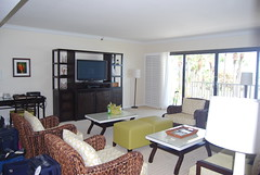 The living room in our suite at Longboat Key Club