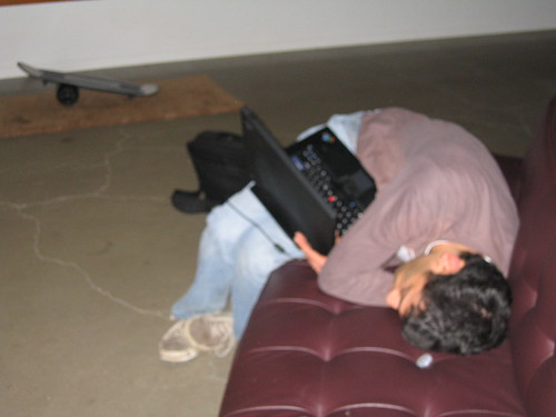 asleep at laptop