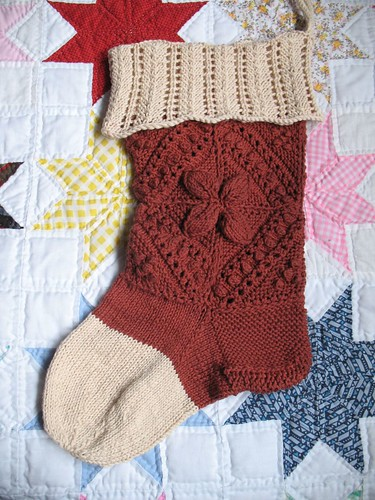 Victorian Counterpane and Lace Stocking