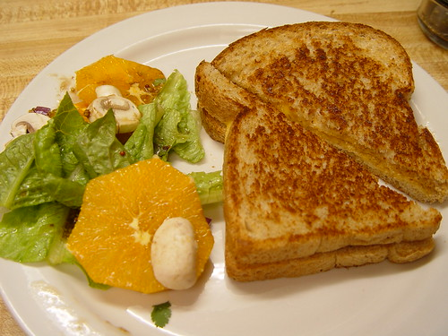 Grilled cheese sandwich and salad