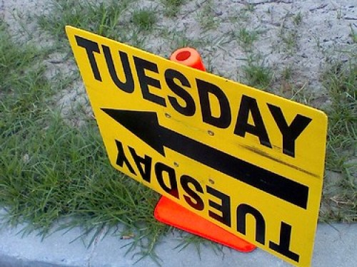 """TUESDAY"" production sign"