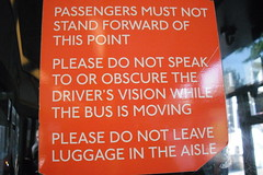 Sign in bus