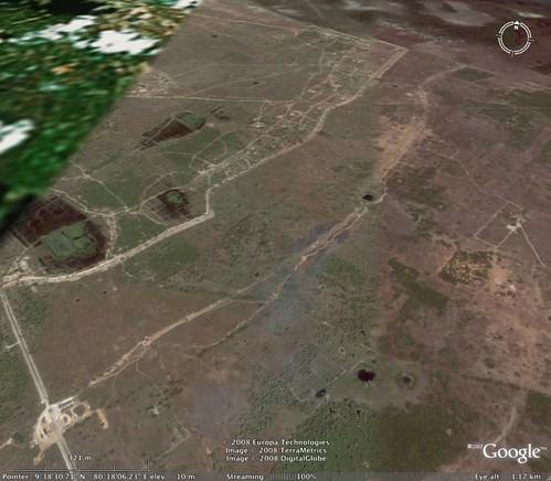 Longshot of the Muhamalai FDL (Forward Defence Lines) on Google Earth
