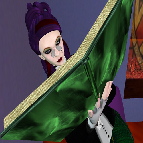 Darkling reading a Tome that Should Not Be in the new Violet Paper Book Shop, in Winterfell Absinthe.