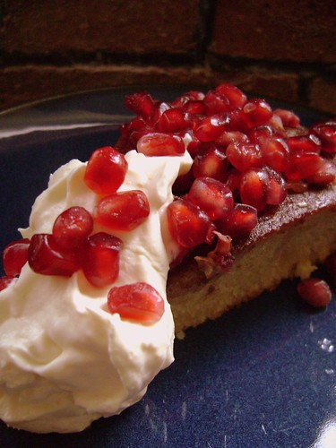 Pomegranate Jewel Cake with organge zesty cream