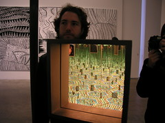 Paul, me, The Infinity Mirrored Room - Love Forever, and some silkscreens, at the Yayoi Kusama exhibition at the Victoria Miro Gallery, London, February 2008.