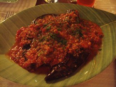 Aubergine and Courgette in a tomato sauce with soured wheat at Avli restaurant in Rethymno, Crete