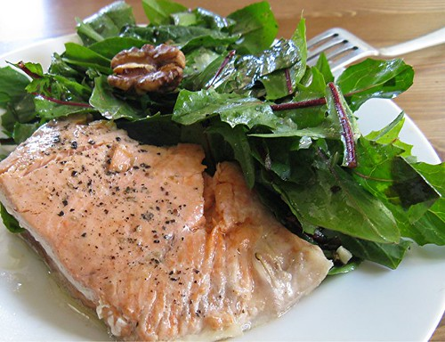 salmon and dandelion greens