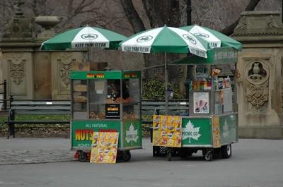 Puesto de hot dogs en Central Park