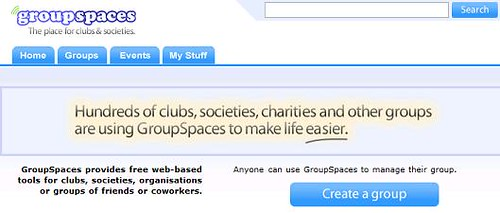 GroupSpaces homepage screenshot