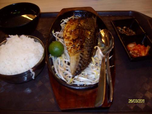 Saba fish and noodles