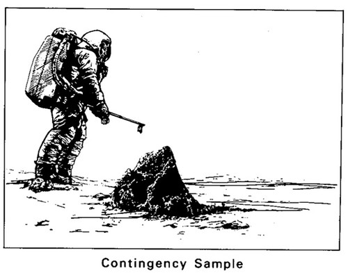 NASA drawing of astronaut taking contingency sampe on Moon surface, Apollo 11 press kit