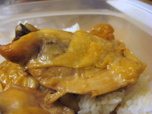 Adobong Manok/Chicken Adobo and Rice (close up)
