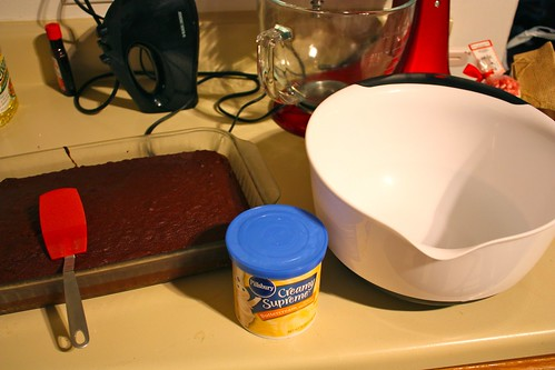 using a spatula move the cake to a large bowl