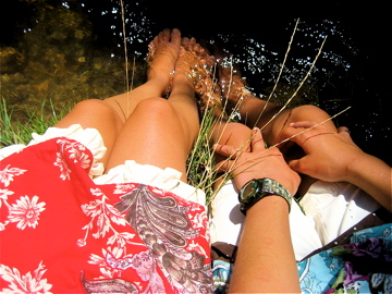 dipping our feet into the creek