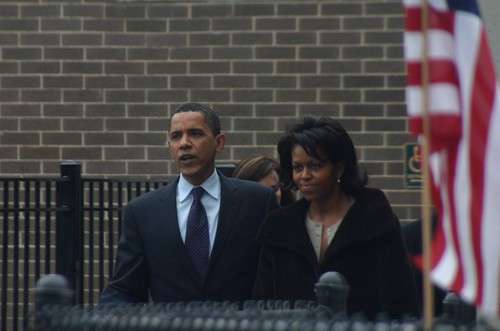 Senator Obama & Michelle Obama Leave Shoesmith Elementary after voting