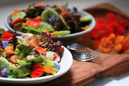 Salad wtih Blueberry Lavender Dressing