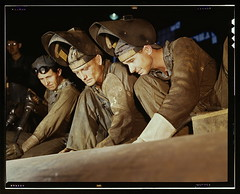 Welders making boilers for a ship, Combustion ...