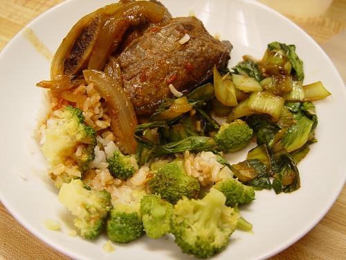 Beef short ribs, bok choy, and broccoli