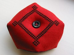 Black and Red biscornu - back