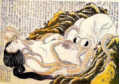 El sueño de la mujer del pescador, Hokusai, 1820