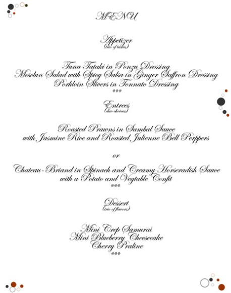 food from the heart Menu