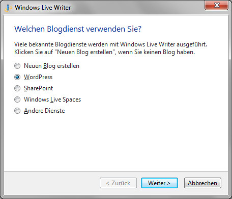Windows Live Writer - Blogdienst