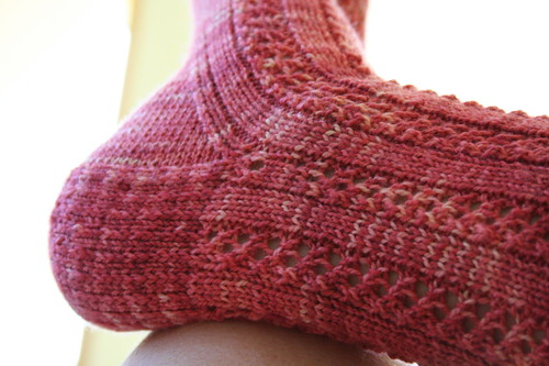 See how that lace pattern doesn't continue? Oops.