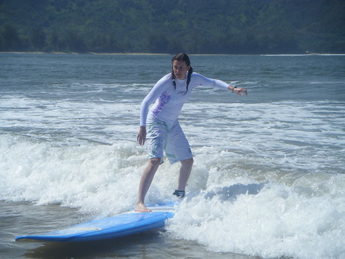 Jil surfing in Kauai