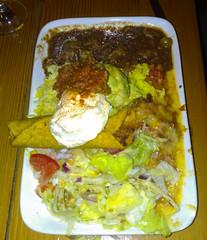 Amigos Gringo plate- chilli con carne burrito, fiesta chicken, beef flauta, rice, salad, guacamole, sour cream & salsa. $21.90