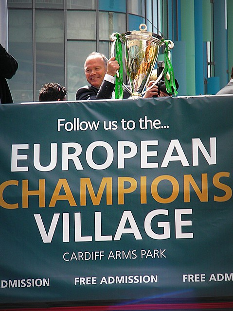 European Cup parade through Cardiff City Centre