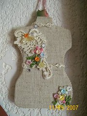 alfiletero, pincushion, elegante beige en lino...