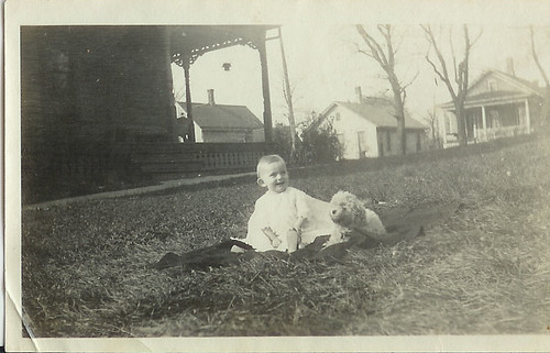 baby in white with dog