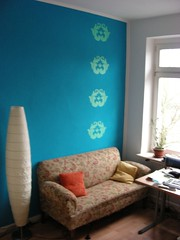 Wall decals at day light.