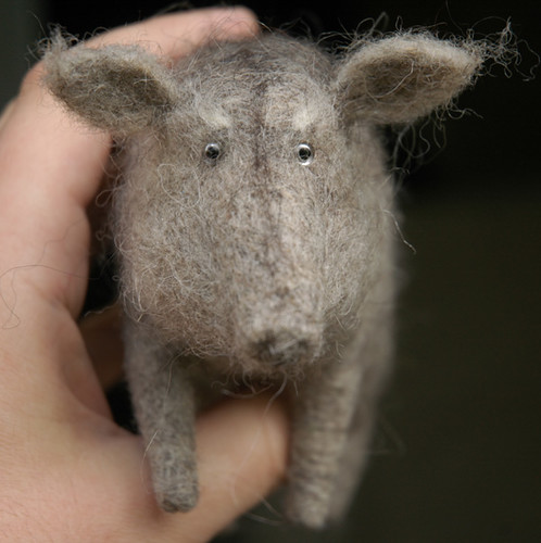 old boar needle felted from wool