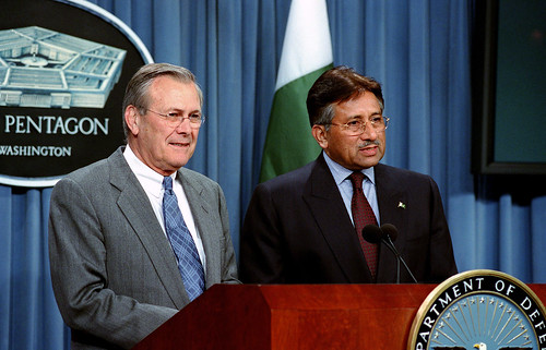 Secretary of Defense Rumsfeld and President Musharraf, 2002 by Helene C. Stikkel (020213-D-2987S-057 DOD)