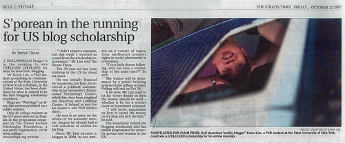 The Straits Times: S'porean in the running for US Blog Scholarship (12th Oct 2007)