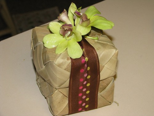 Brown Ribbon Lauhala Box Wedding Favor