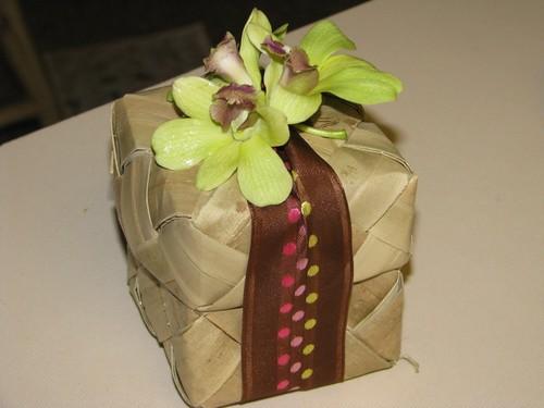 Brown Ribbon Lauhala Box Wedding Favor