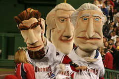 Washington Nationals racing presidents George Washington, Thomas Jefferson, and Abe Lincoln