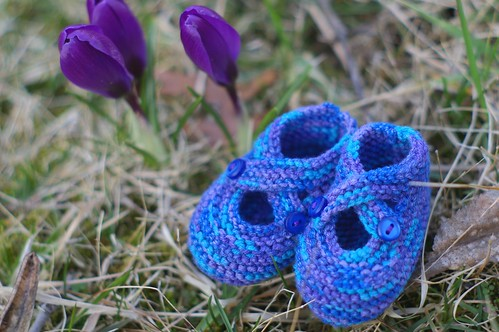 bamboo baby booties with crocuses