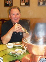 barry eating hot pot in China