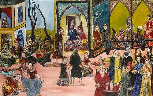 Tassuduque Sohail (Pakistan, b. 1930) A prince entertaining a large company in a pavilion