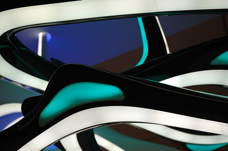 Detail of acrylic light spiral designed by Zaha Hadid