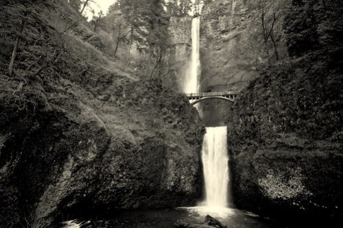 Multnomah Falls in b&w