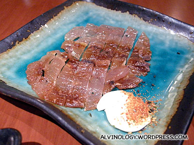 Barbecued puffer fish meat that taste like salty bak kwa