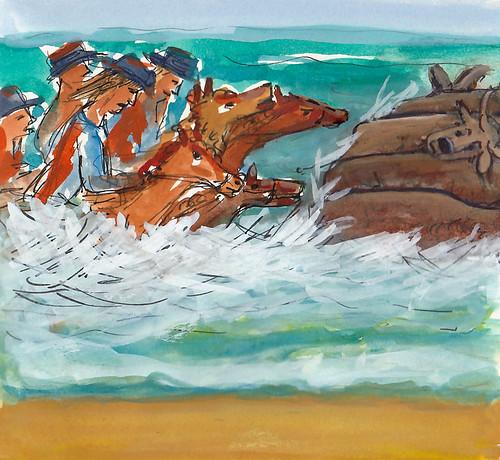 Then horses chasing buffalo