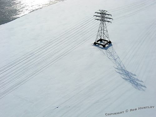 These power lines cross the Ottawa River from Gatineau Quebec to the Chaudiere Falls in the middle of the Ottawa River.