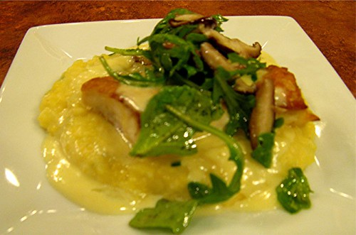halibut on polenta with greens and mushrooms