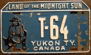 YUKON 1953 undated license plate before tab ad...